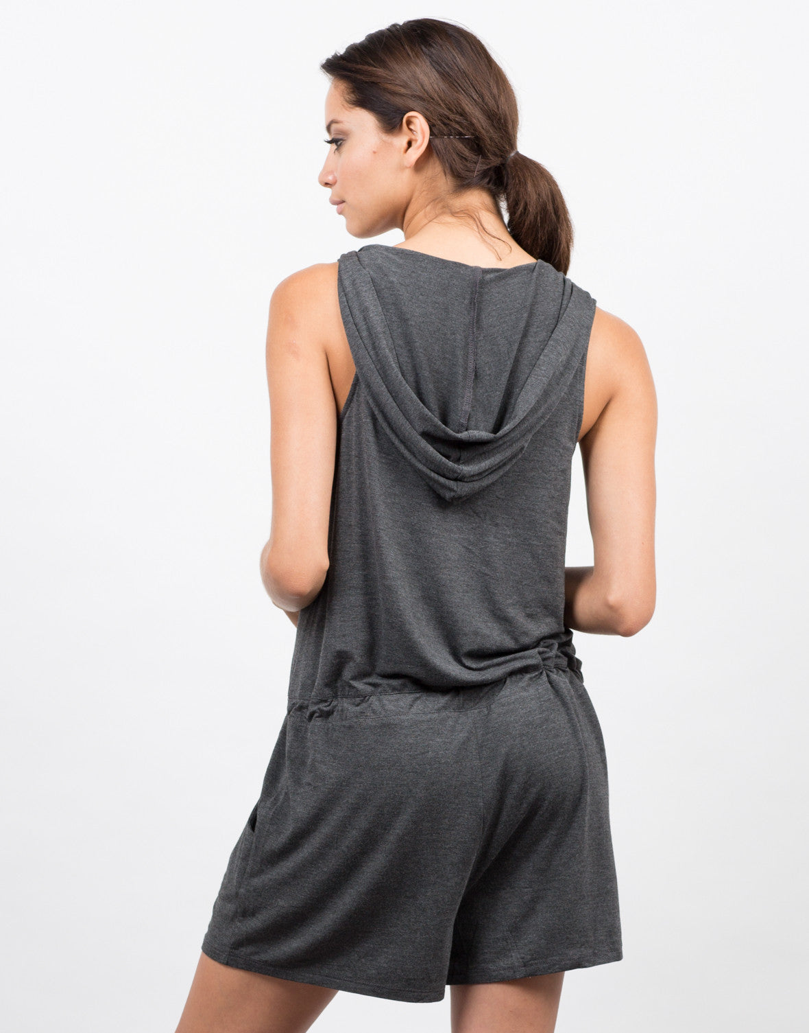 Back View of Zipper Front Hooded Romper