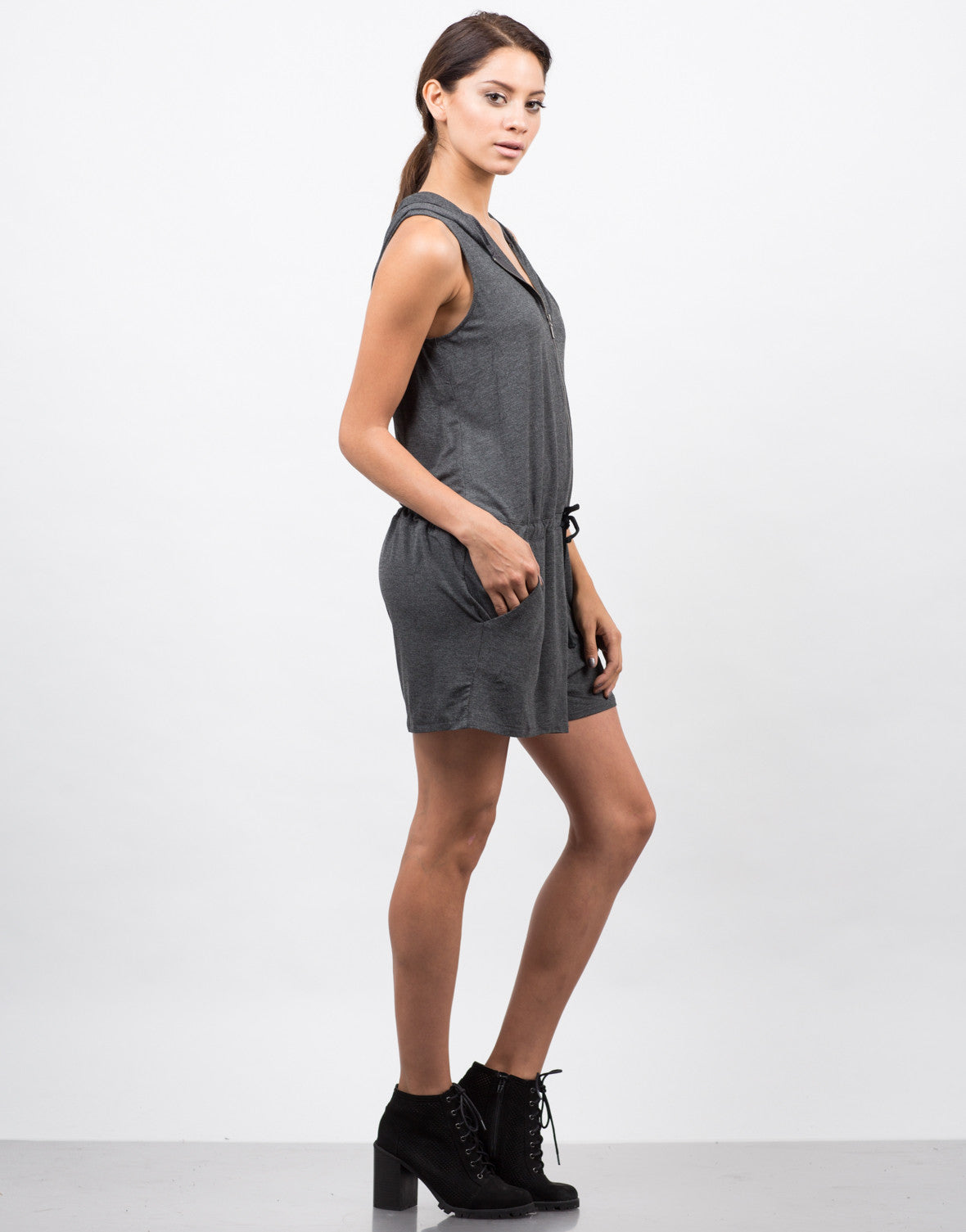 Side View of Zipper Front Hooded Romper