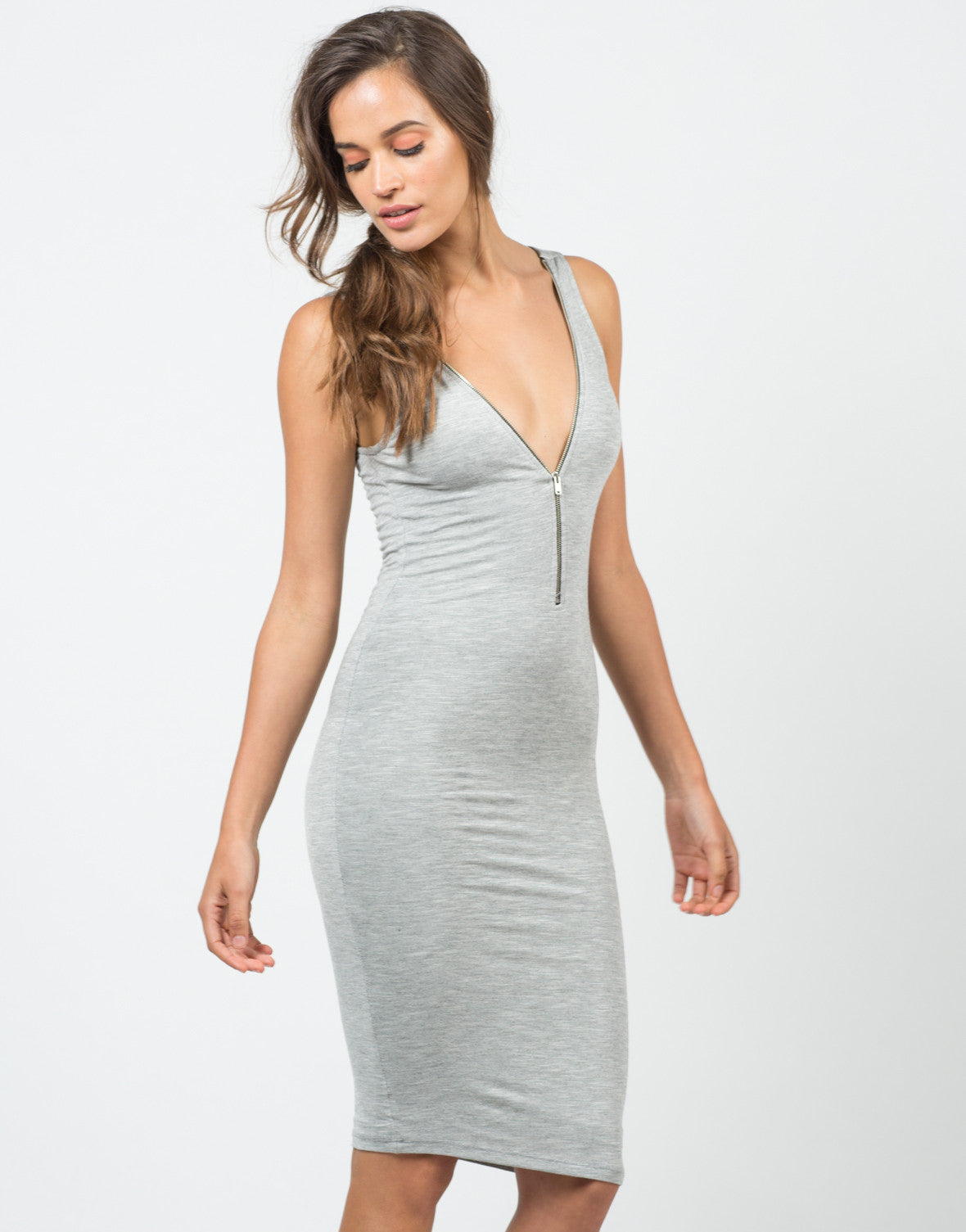 Front View of Zipper Heathered Midi Dress
