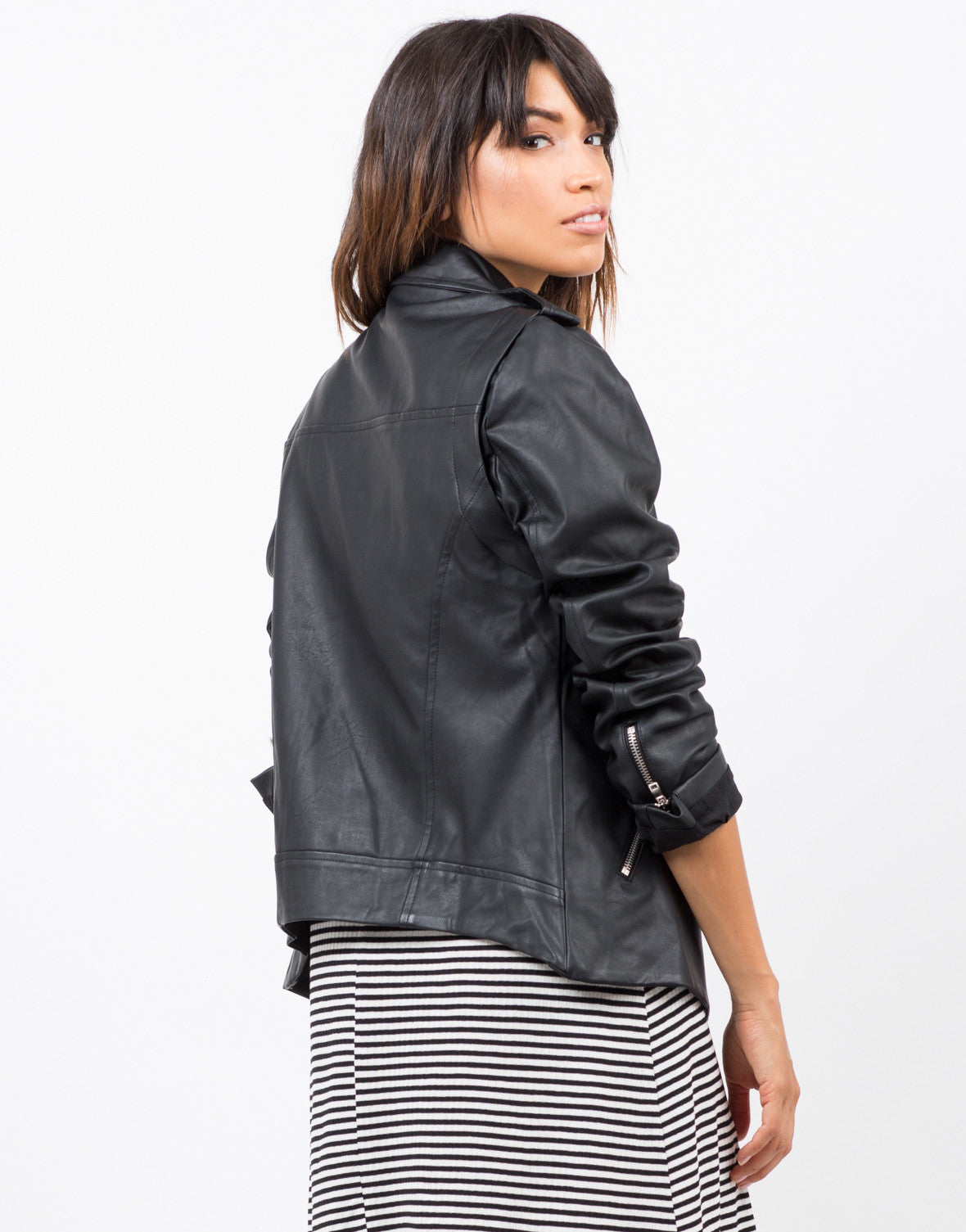 Back View of Zip Sleeve Oversized Leather Jacket