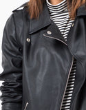 Detail of Zip Sleeve Oversized Leather Jacket