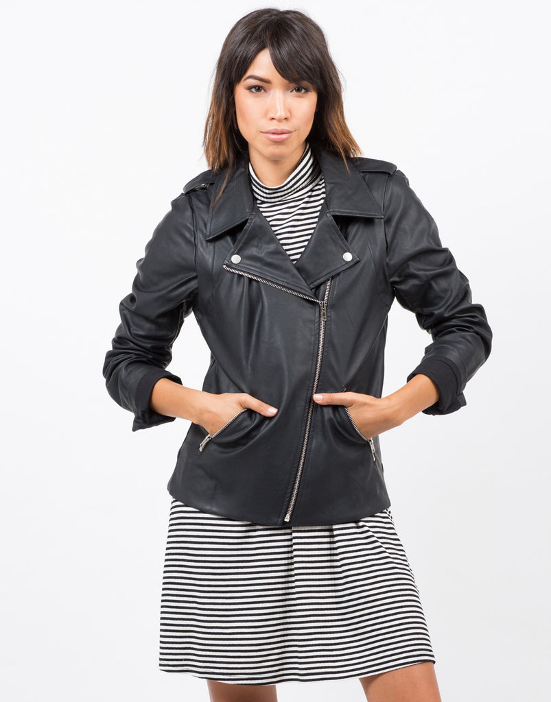 Front View of Zip Sleeve Oversized Leather Jacket