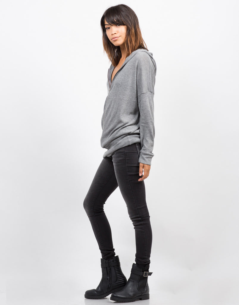 Side View of Zip Up Sweater Top
