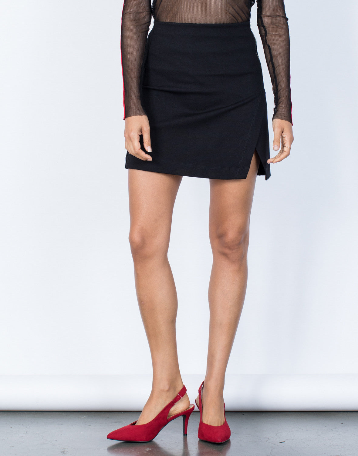 Black Zoey Wrap Skirt - Front Detail