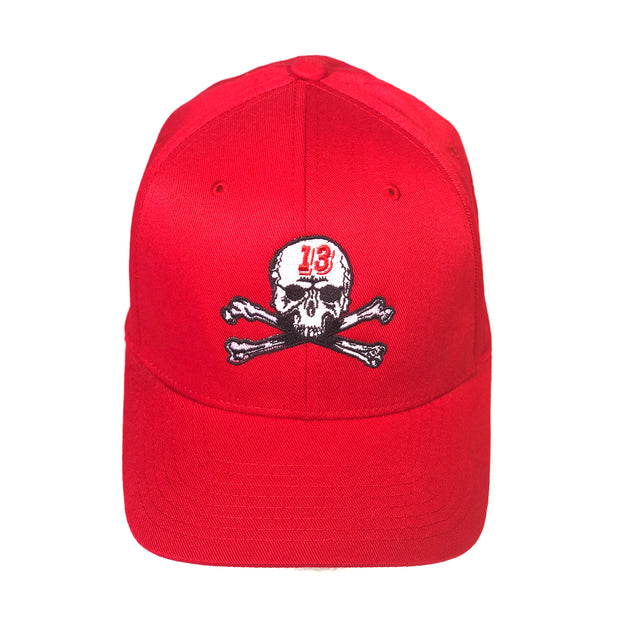 Skull & Bones Fitted Hat - Red