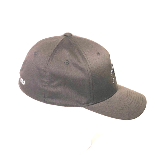 Skull & Bones Fitted Hat - Charcoal