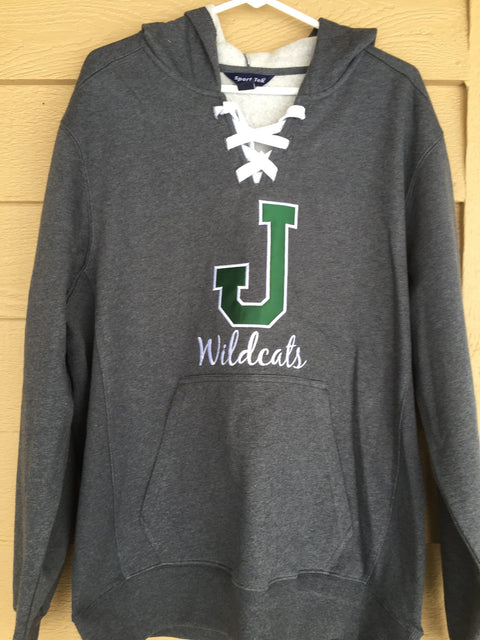 Jenison J - Wildcats Sport-Tek® Lace Up Pullover Hooded Sweatshirt with Applique
