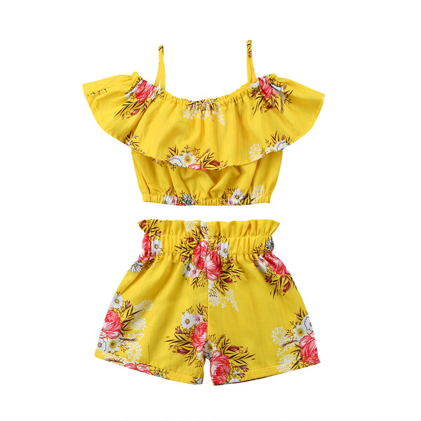 Adorable Off Shoulder Yellow Floral 2 Piece Set
