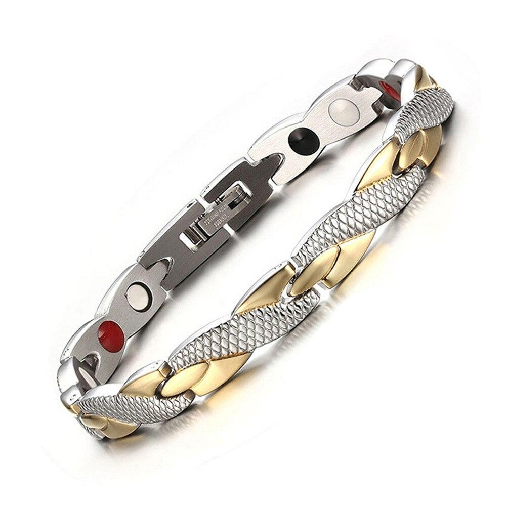 Twisted Magnetic Therapy Bracelet - Platinum Gold