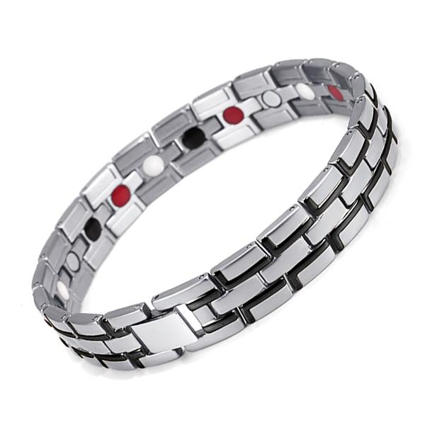 Therapeutic Magnetic Bracelet - Silver-Black - 2 ITEMS