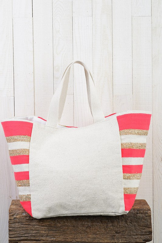 Pink And Gold Zig Zag Tote