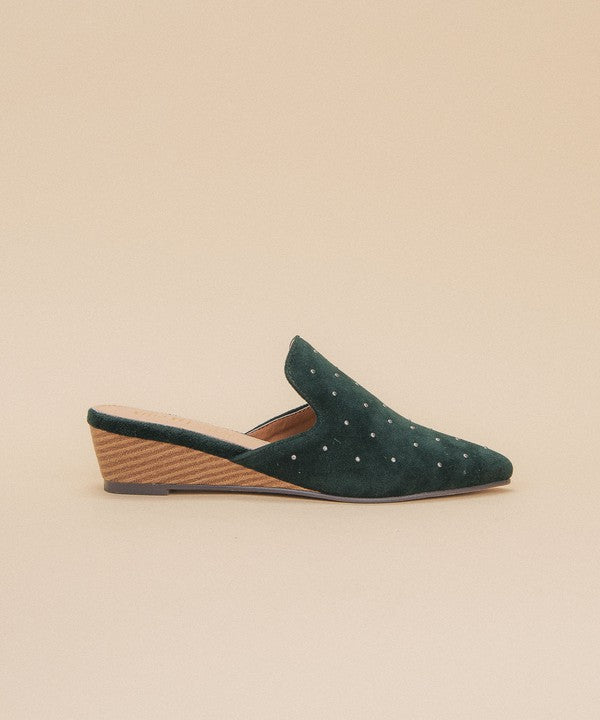 Emerald Studded Mule Wedge