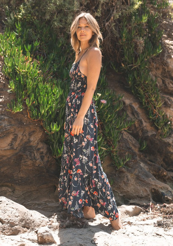Blue Floral Smocked Maxi Dress