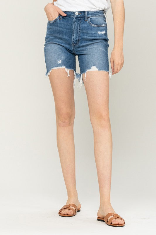 True Blue High Rise Distressed Shorts