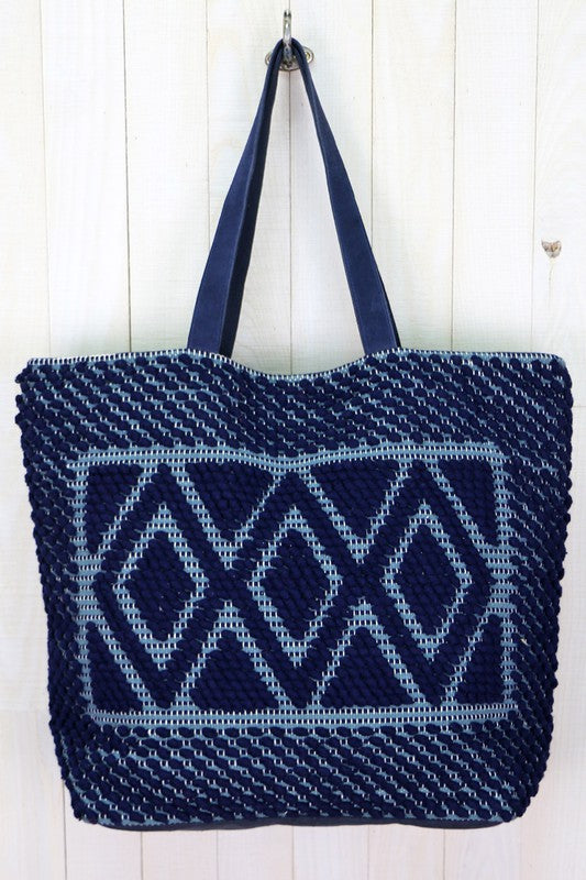 Navy Diamond Pattern Tote