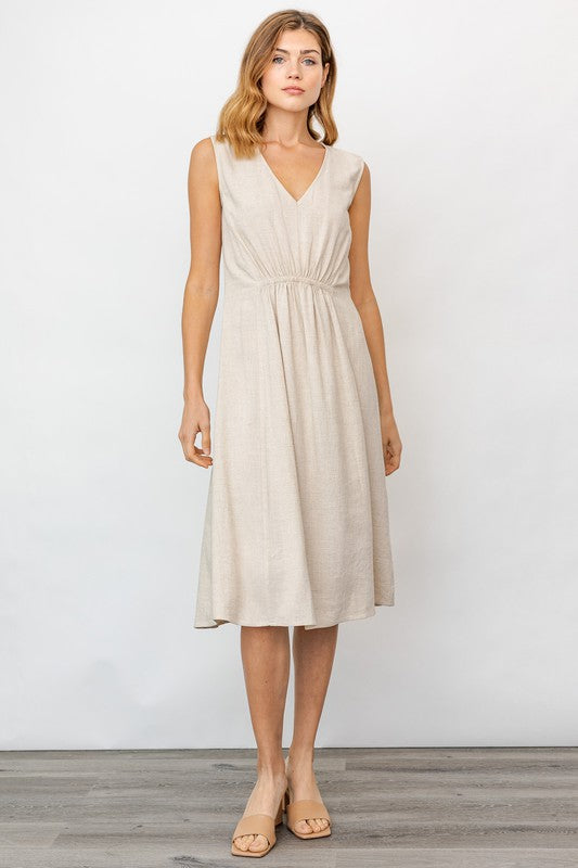 Oatmeal Sleeveless Elastic Detail Midi Dress
