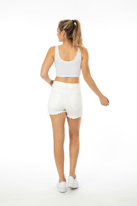 White High Rise Button Fly Shorts