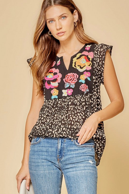 Black Leopard Embroidered Top