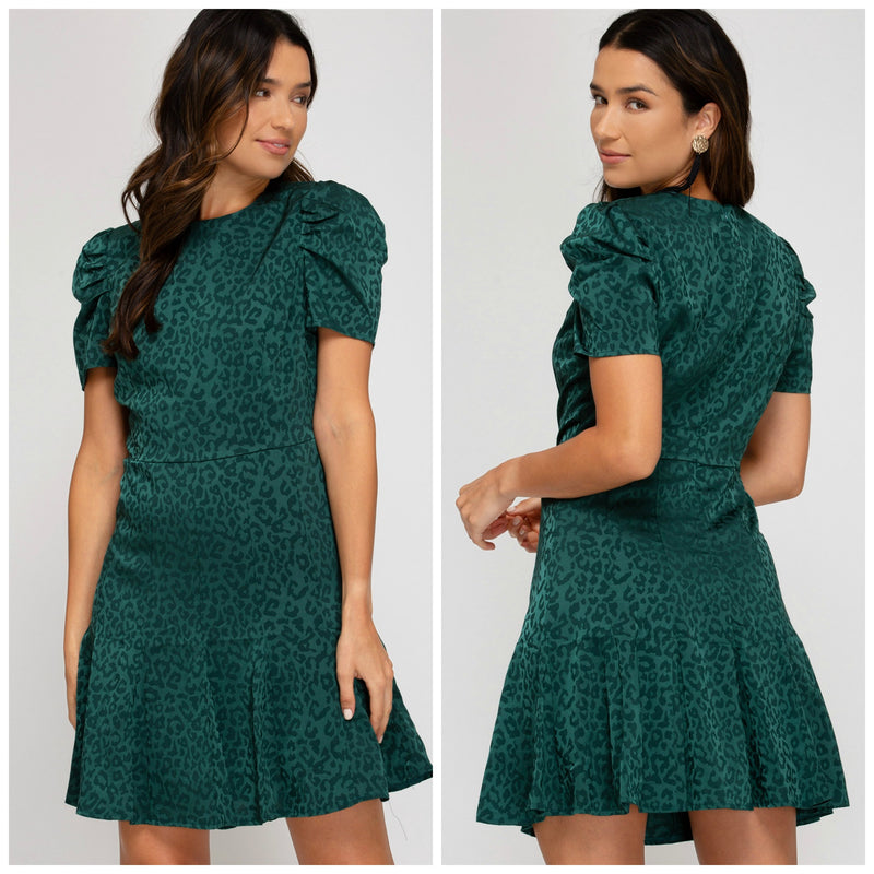 Emerald Satin Leopard Print Mini Dress