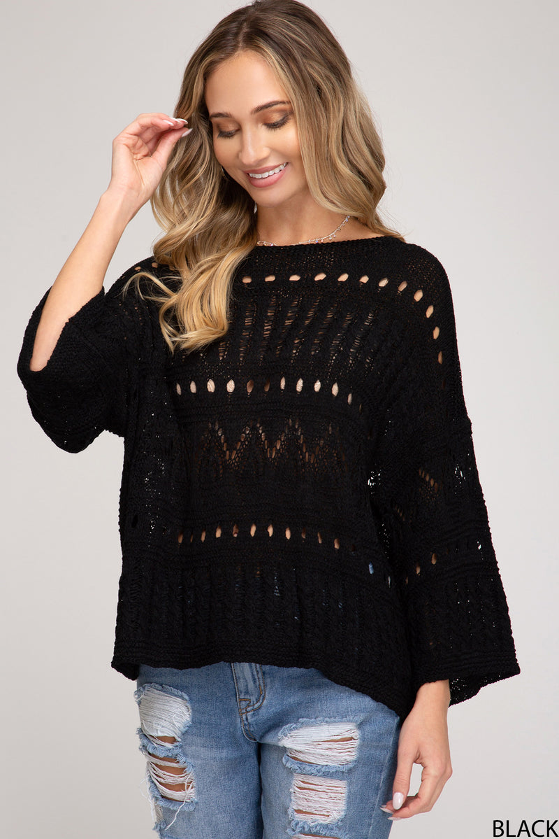 3/4 Sleeve Open Knit Sweater