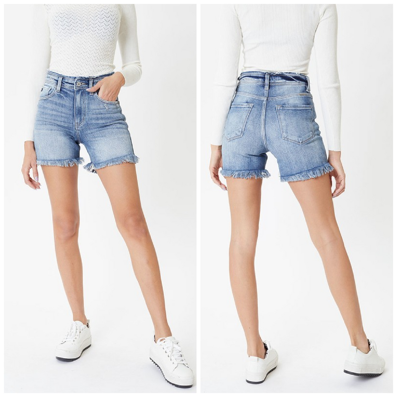 High Rise Fray Detail Denim Shorts