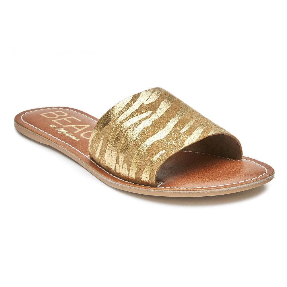 Gold Suede Zebra Slip On Sandal