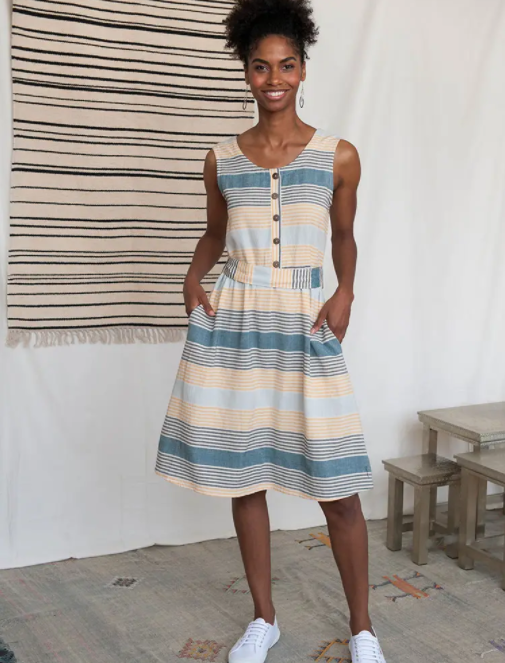 Blue & Yellow Stripe Reversible Dress
