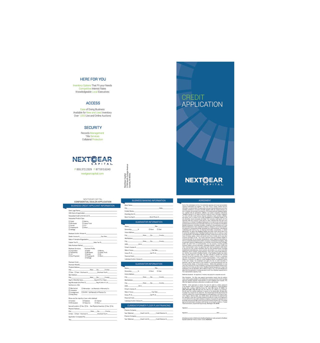 CREDIT APPLICATION TRI-FOLD (1 QTY = 25-PACK BUNDLE)
