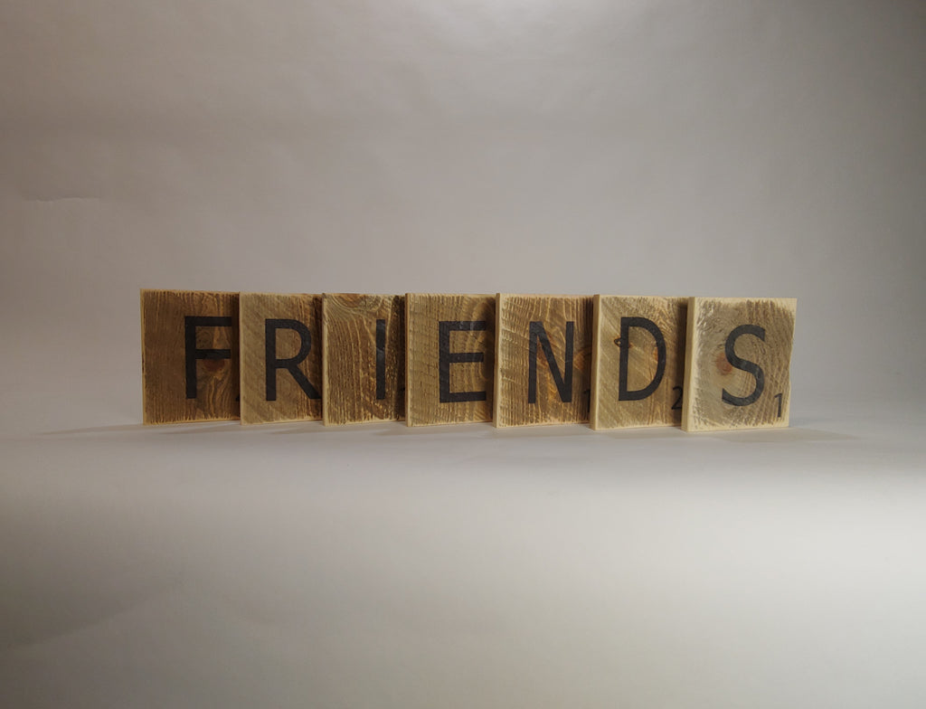 "Reclaimed Wood Wall Art Scrabble Tiles - ""Friends"""