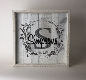 Custom Family Name Reclaimed Wood Sign - Square