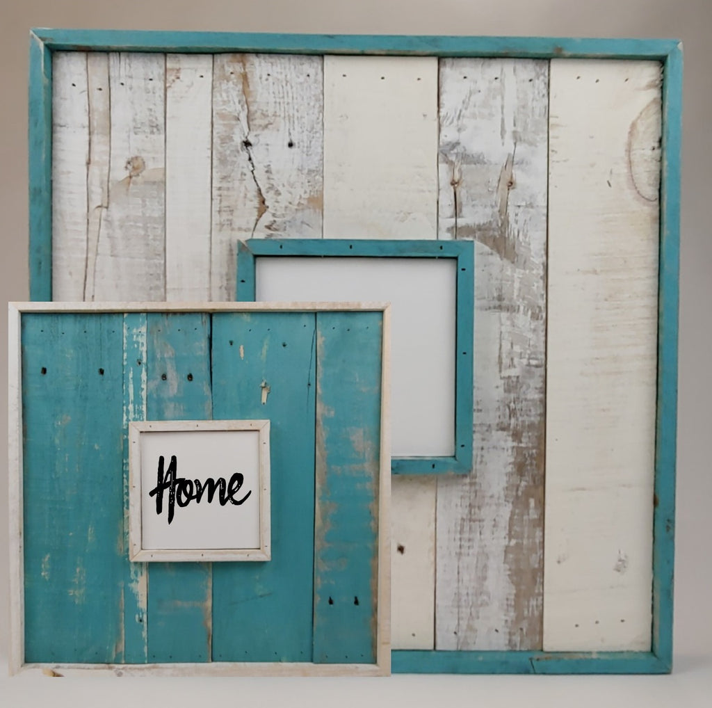 Double Framed Picture Canvas Reclaimed Wood Wall Art in Turquoise