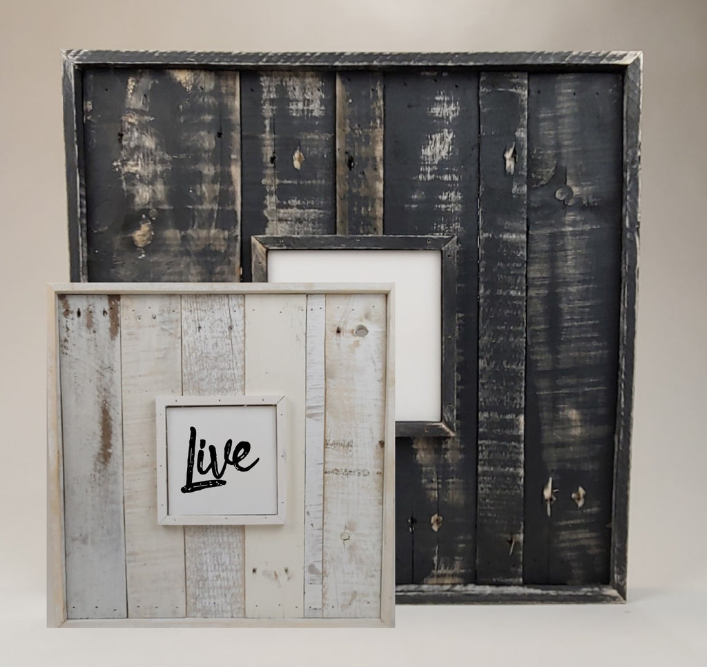 Double Framed Picture Canvas Reclaimed Wood Wall Art in Full White or Black