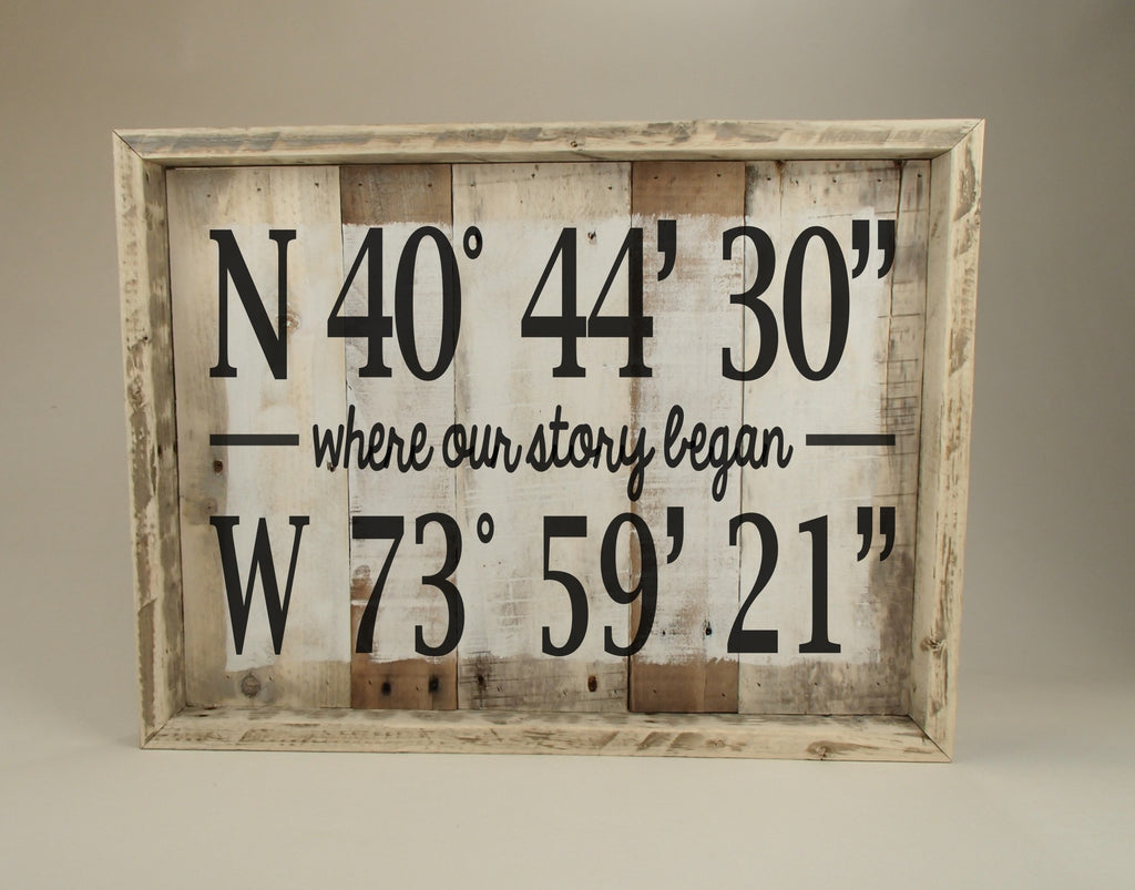 Pallet Wood Sign/Wall Art/Custom GPS Coordinates