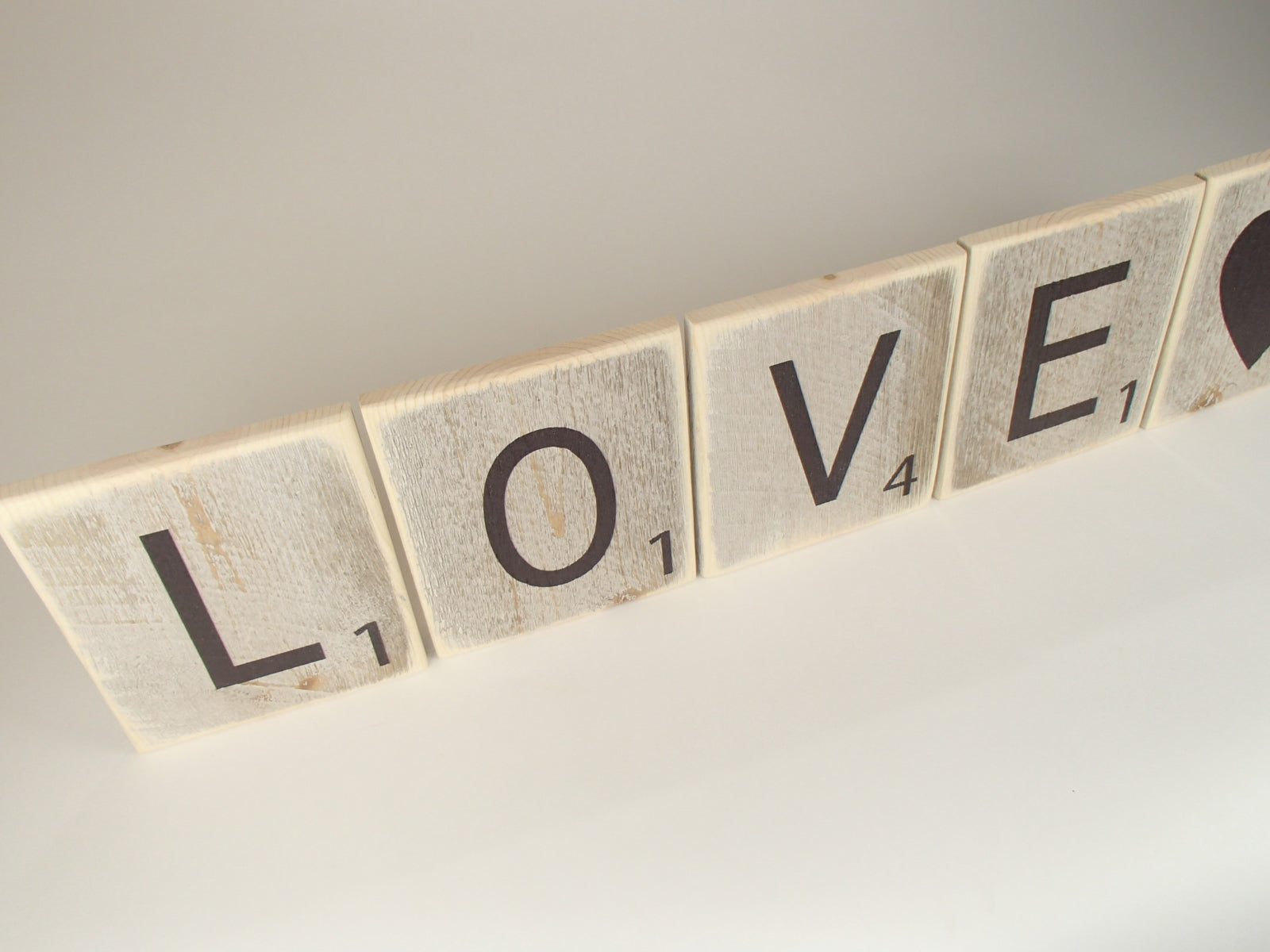 "Reclaimed Wood Wall Art/Scrabble Tile ""Love"""