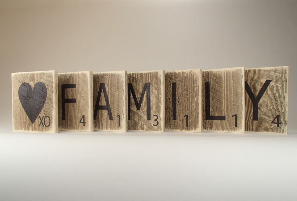 "Reclaimed Wood Wall Art/Scrabble Tile ""Family"""
