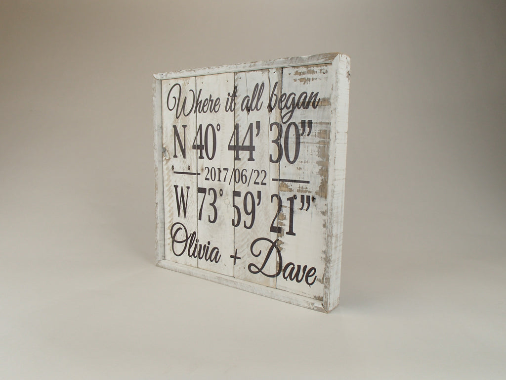 Custom GPS Coordinates Reclaimed Wood Sign - Square