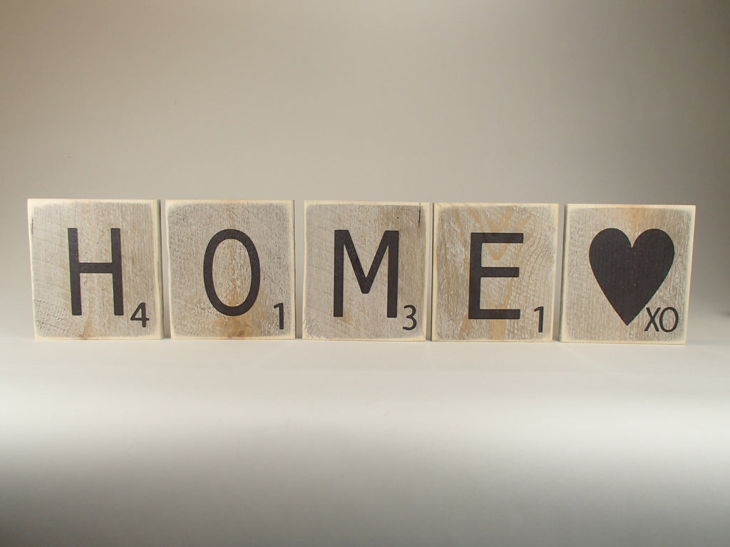 "Reclaimed Wood Wall Art/Scrabble Tile ""Home"""