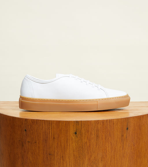 White Leather with Gum Sole