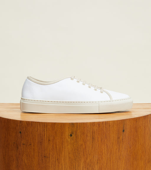 White Leather with Cream Sole