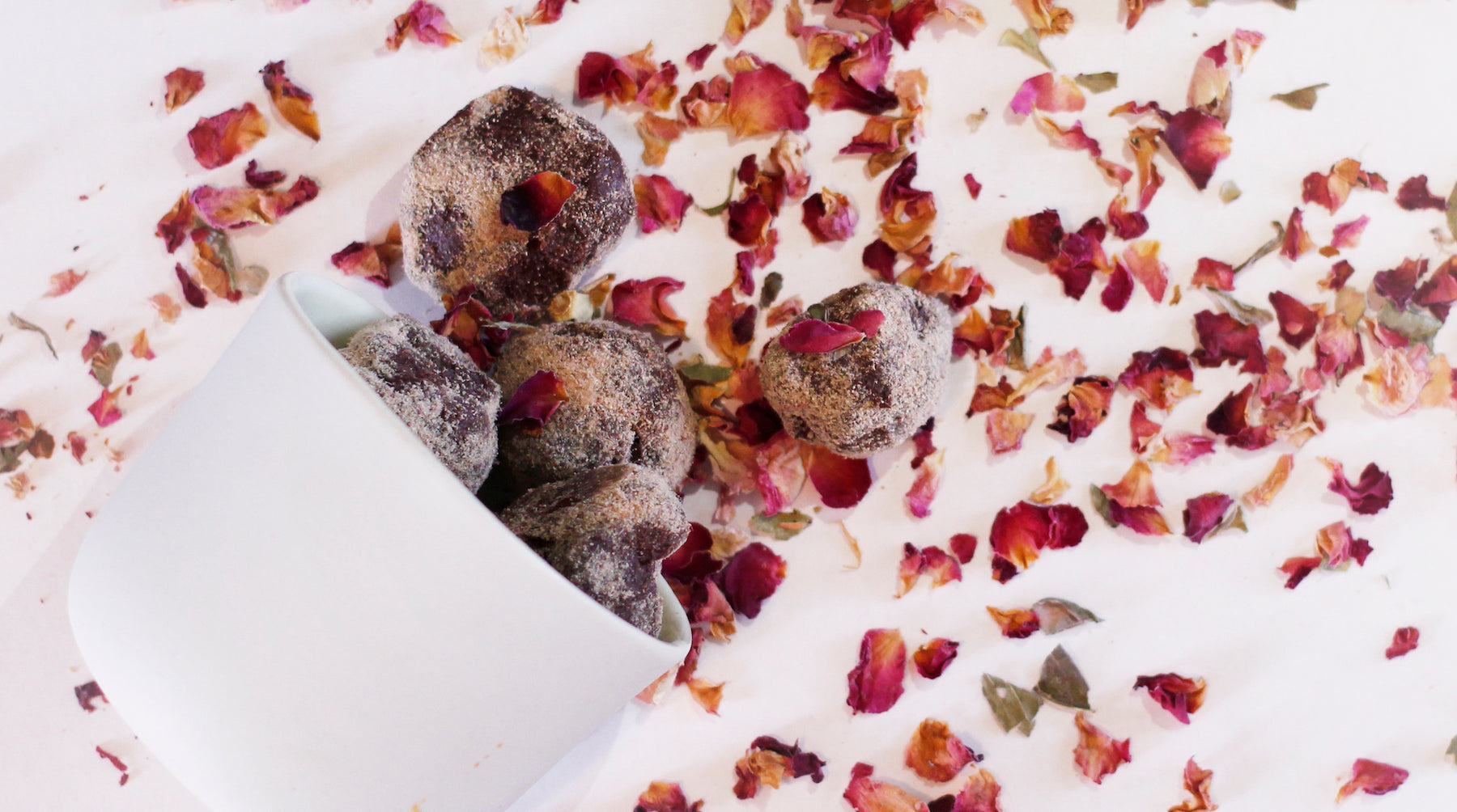 rose petal organic chocolate truffles LOTUSWEI flower essences