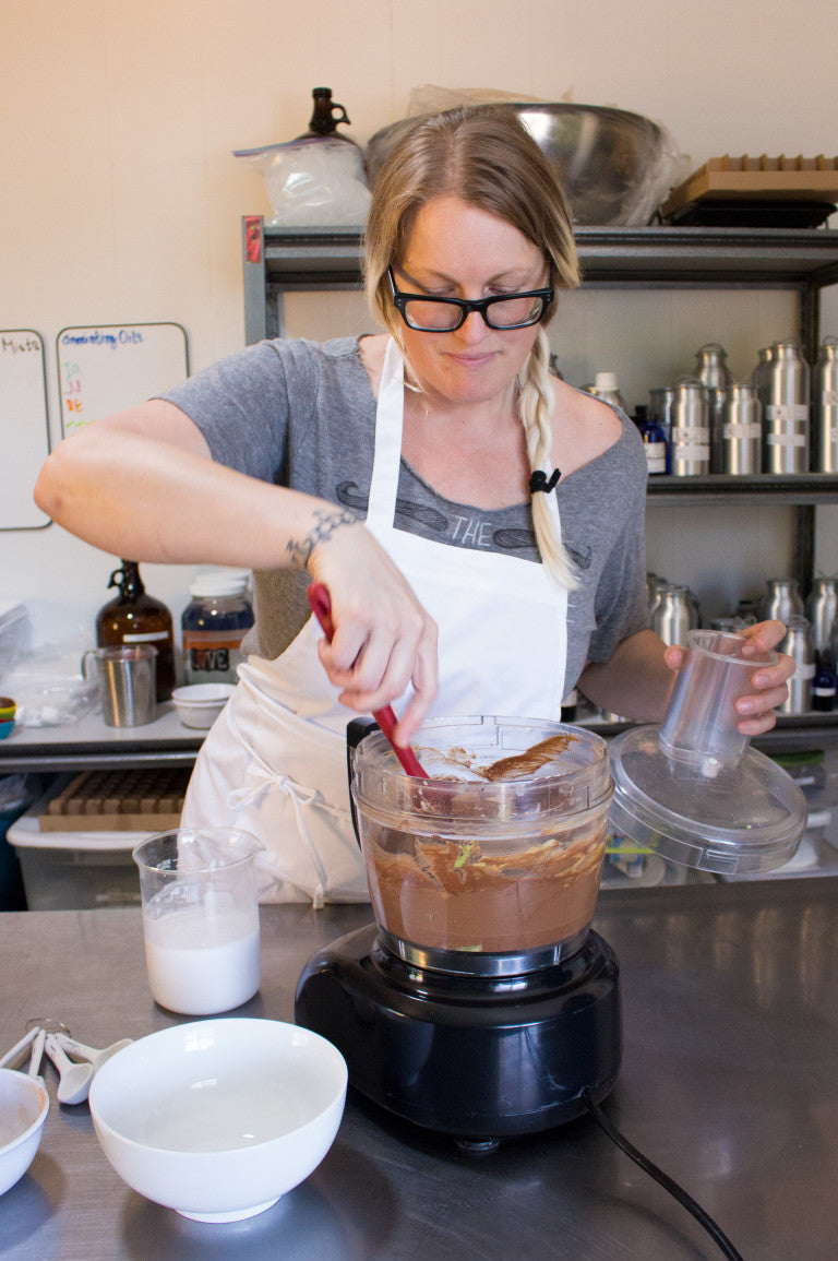 Jodi stirring chocolate pudding LOTUSWEI flower essences