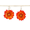 Red Orange Chrysanthemum Earrings Large