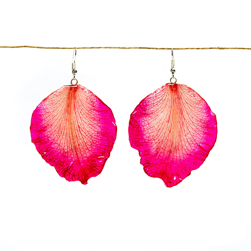 Pink Cattleya Orchid Petal Earrings - Large