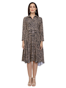 Animal Printed Collared Asymmetric Dress