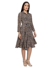 Load image into Gallery viewer, Animal Printed Collared Asymmetric Dress