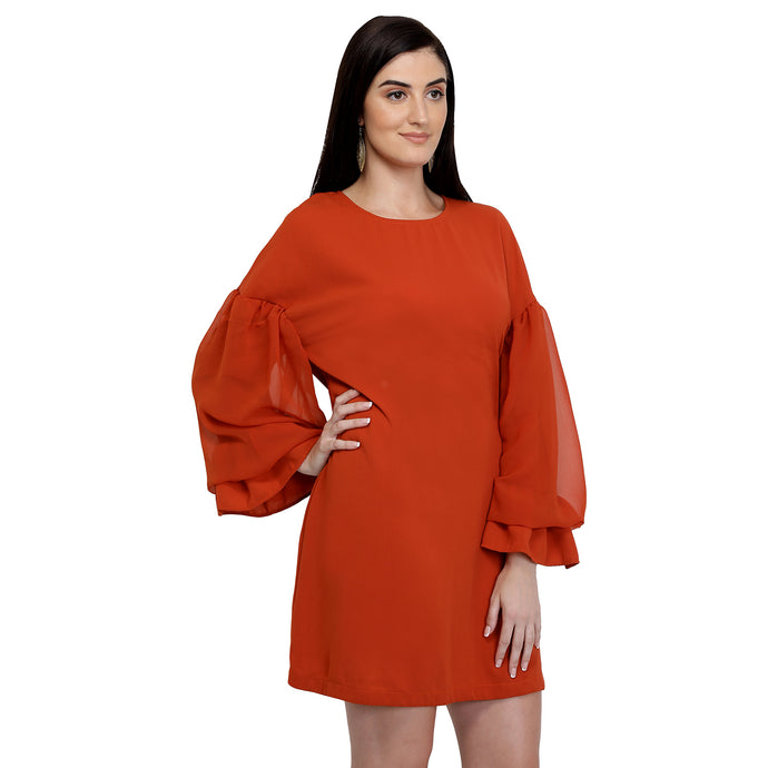 Rust Balloon Sleeves Dress