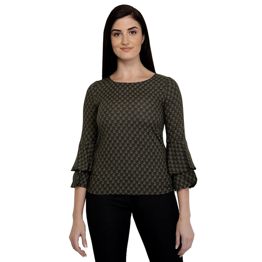 Olive Green Cotton Bell Top