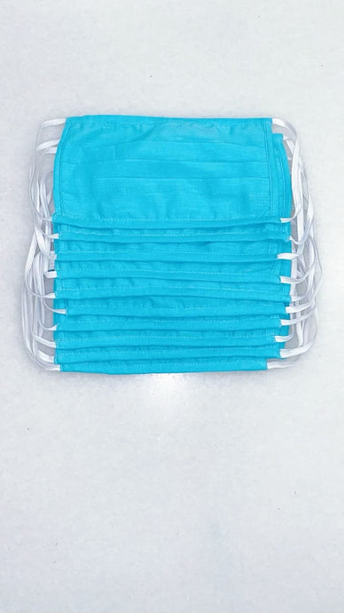 Blue fabric Masks Set of 10