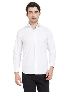 White Cotton Contrast Flap Shirt