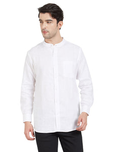 White Linen Chinese Collar Shirt